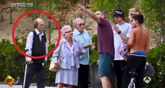 These older people approach some skaters, but look what the man with the crutch can do... Wow!
