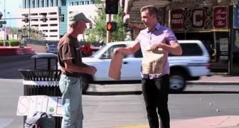 Un joven destruye el cartel de un hombre sin hogar, pero lo que esta por hacer lo hara sonreir!