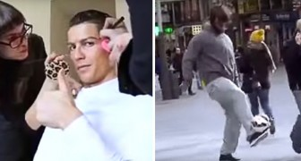 Cristiano Ronaldo plays with a ball dressed as a homeless ... The reaction of the people is amazing !