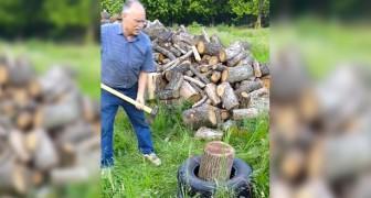 Hij plaatst een houtblok in een band, de reden hiervoor is geniaal