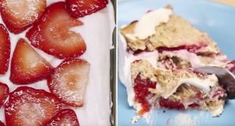 In deze video leer je hoe je een aardbeientaart kunt maken met 5 simpele ingrediënten en zonder oven