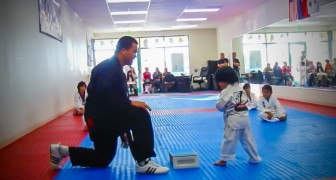 This chid is doing the exam for the white belt: what happens next surprises even the instructor