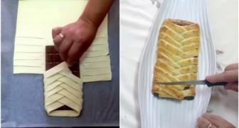 Elle enveloppe une tablette de chocolat avec la pâte et crée un dessert au TOP