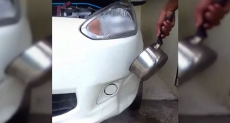 He pours boiling water on the car ... It seems crazy, but this is a BRILLIANT trick!