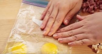 Coloca alguns ovos em um saco para alimentos... O que está criando é delicioso!