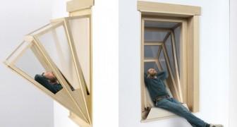 Het lijkt een gewoon raam maar in een handomdraai heb je een balkon