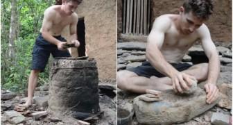 Il vit comme les hommes primitifs en fabriquant TOUT : voilà comment il réussit