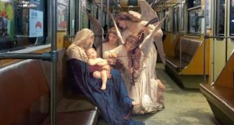 Inserisce personaggi dell'arte classica in ambienti moderni: il risultato è inimmaginabile