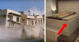 A major earthquake is about to take place, but look what happens to this man's bed !