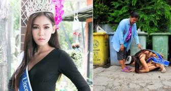 Miss Thailand bedankte haar moeder, die haar onderhield door als vuilnisvrouw te werken, op haar knieën