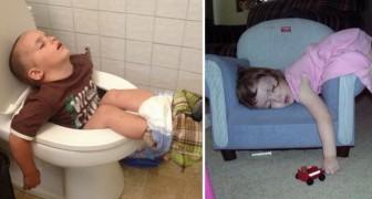 20 enfants surpris par le sommeil dans les lieux les plus absurdes