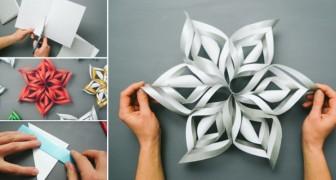 Ze neemt een vel papier: zo maak je een 3D sneeuwklok
