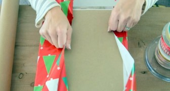She's out of wrapping paper, but is still able to create a beautiful package thanks to a brilliant idea