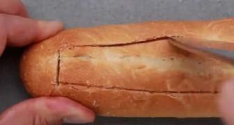 Taglia una baguette e aggiunge semplici ingredienti gustosi: il risultato vi farà impazzire!