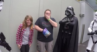He poses with his favorite heroes, but she hands him an envelope ... that will make him cry!