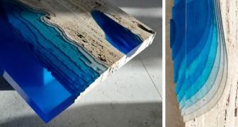 Il associe le marbre et la résine dans une seule œuvre: le résultat est une table qui fait rêver