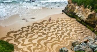 Un ragazzo lascia il suo lavoro per creare incredibili opere d'arte sulla sabbia