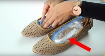 Elle met des sachets en plastique dans les chaussures... Son astuce va la sauver!