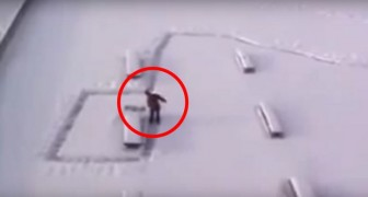 He creates a snow path ... But there's a clever trick behind it!
