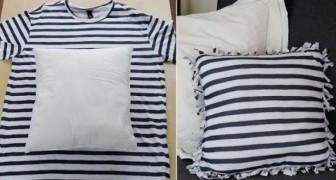 Så här återvinner ni gamla T-shirts på ett smart sätt utan att använda nål och tråd!