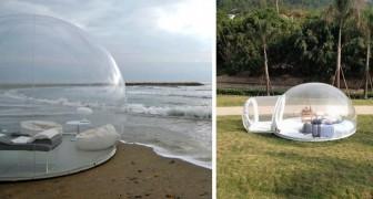 Voici la tente transparente qui vous permet de vous endormir tout en admirant le ciel étoilé.