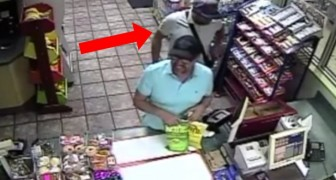 A man is paying the cashier --- but keep an eye on his accomplice . . .
