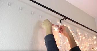 Elle met des lumières de Noël derrière le lit: la création finale est pas chère et au top