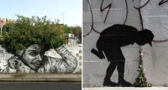 Ammirate questa serie di graffiti che interagiscono splendidamente con la natura
