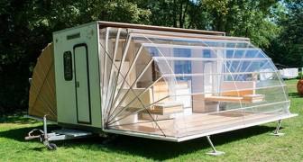 Dit lijkt misschien een vreemde caravan, maar als je ziet hoe hij in elkaar zit dan wil je hem ook hebben