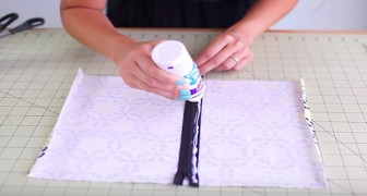 Incolla una zip sul tessuto e vi mostra il trucco per creare un astuccio in 30 secondi