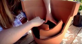 Elle casse accidentellement un grand vase en terre cuite... mais elle réussit à le transformer en quelque chose de magique!