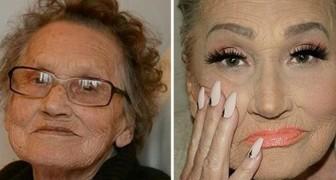 Een vrouw van 80 jaar oud vraagt aan haar kleindochter om haar op te maken...en wordt zonder er bewust van te zijn een ster op het web
