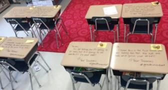 Les étudiants entrent en classe pour passer un examen: sur les tables, il y a une surprise qu'ils n'oublieront pas