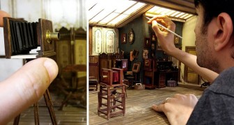 Decide di ricreare uno studio fotografico del 1900 in miniatura: il risultato supera l'immaginazione