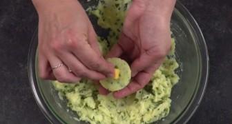 Ze stopt een blokje kaas in een bolletje aardappelpuree: gefrituurd zijn deze bolletjes onweerstaanbaar lekker!