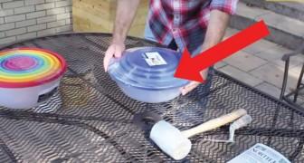 Dieser Mann benutzt zwei Plastikschalen, um einen originellen Gegenstand für seinen Garten zu schaffen