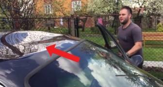 Su auto tiene una grandisima abolladura, pero el modo en que lo repara es...magico!