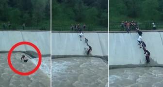 Guardate come un gruppo di persone riesce a salvare un cane un minuto prima che anneghi
