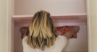 Carta da parati e vernice: ecco come questa donna dà nuova vita al suo armadio
