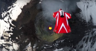 Italian Skydiver Roberta Mancino's wingsuit flight --- over an active volcano!
