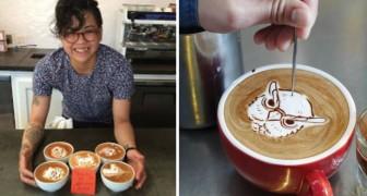 Una barista inizia per gioco a decorare i cappuccini: il risultato supera ogni aspettativa