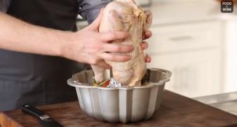 Setzt das Hähnchen in die Kuchenform... Eine Art zu braten, die ein unerwartetes Ergebnis erzielt!