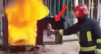 A firefighter picks up a bottle of Coca-Cola --- the way he uses it is astounding!