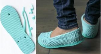 Ze snijdt de zolen van de slippers en laat ons zien hoe je unieke sandalen creërt
