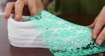 Appoggia del tessuto su una comune scarpa: quando termina il lavoro, il dettaglio è favoloso!
