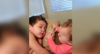 La petite veut réveiller le grand frère : ce qu'il se passe est d'une infinie douceur
