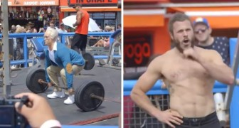 An elderly man competes on Muscle Beach --- everyone is speechless!