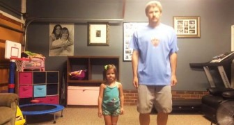 Left alone at home --- father and daughter put on a show!