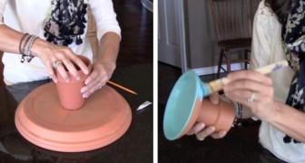 Hon klistrar ihop några lerkrukor och skapar ett snyggt föremål