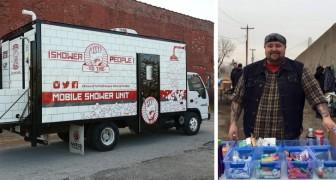 Trasforma un vecchio camion in una doccia mobile: il motivo merita un applauso!
